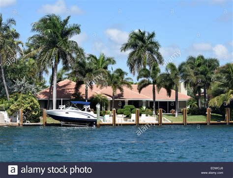 boat dock florida luxury waterfront home with boat dock in florida stock