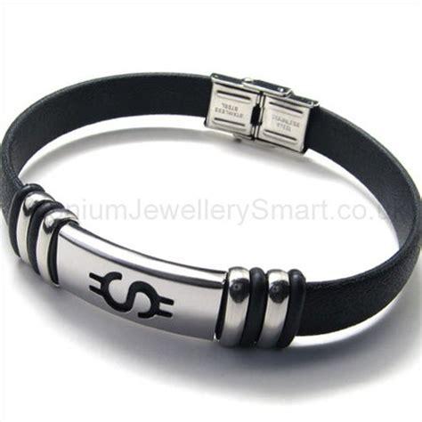 titanium leather mens bracelet 18804 163 59 titanium
