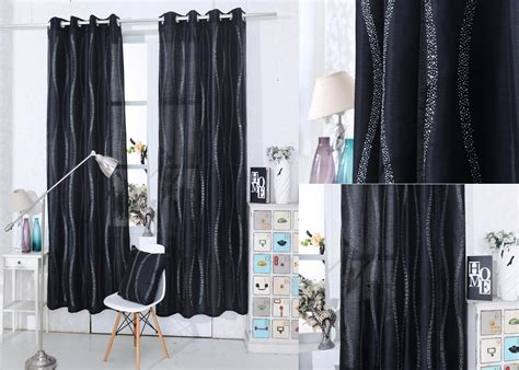 black curtains 90 x 54 diamante eyelet voile curtain panels one panel x1
