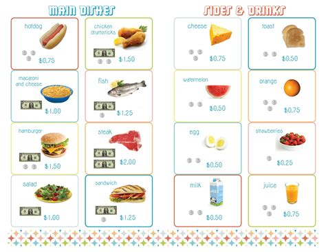 printable toddler menu following menu put order in baggie student has to put