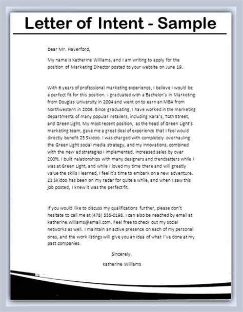 Letter Of Intent Sle Template Letter Of Intent Templates All Form Templates