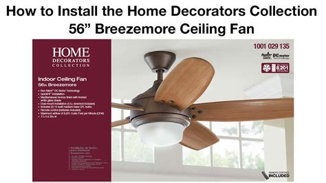 How To Install The 56 In Breezemore Ceiling Fan Youtube How To Replace A Ceiling Fan With A Light