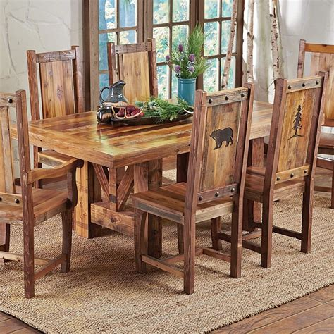 Rustic Kitchen Table Set Western Trestle Table Chairs Country Rustic Wood Log Kitchen Furniture Decor Ebay