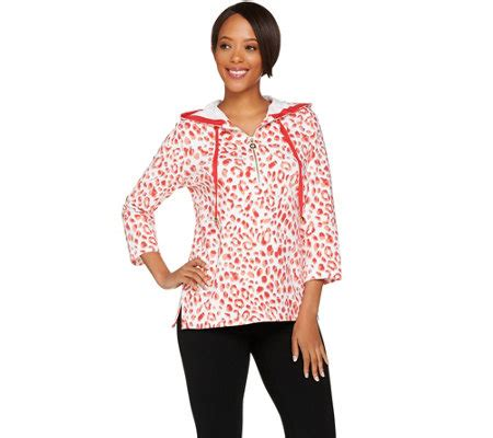 Printed Hooded Pullover susan graver weekend printed terry hooded pullover