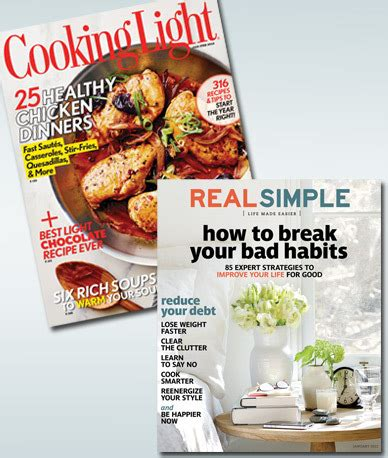 cooking light and real simple magazine subscription combo