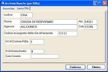 un codice delle banche riba disposizioni di incasso elettroniche winriba