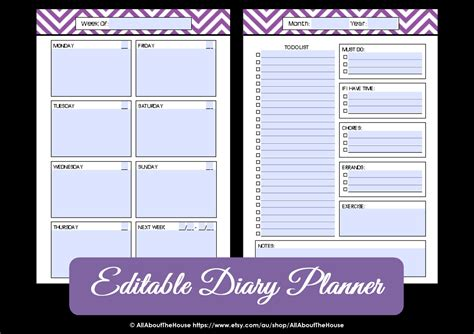 printable planner editable editable weekly planner printable chevron by allaboutthehouse