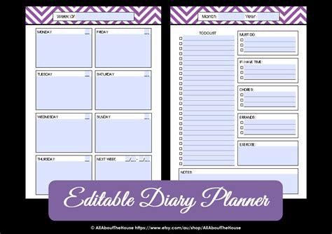 weekly planner printable editable editable weekly planner printable chevron by allaboutthehouse