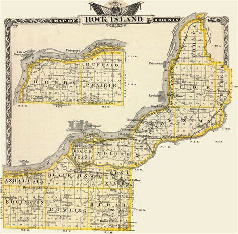Rock Island County Records Rock Island County Illinois 1876 Historic Map Reprint