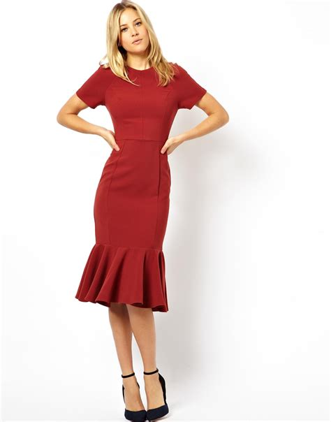 House Rules Design App by Asos Midi Dress With Peplum Hem In Red Lyst