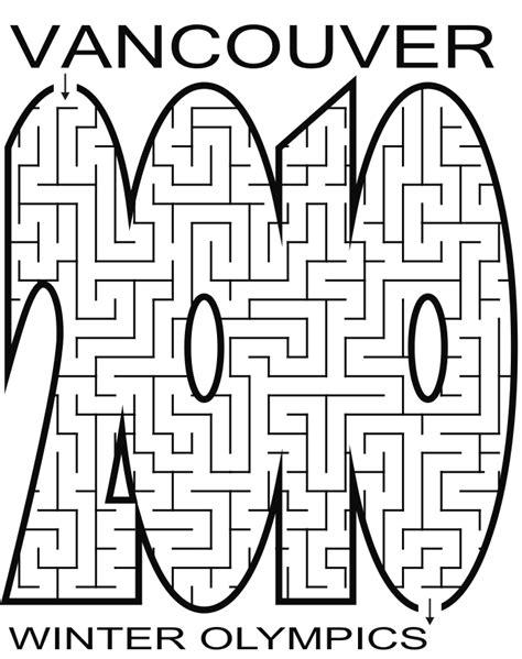 printable mazes shapes vancouver 2010 maze shaped like 2010