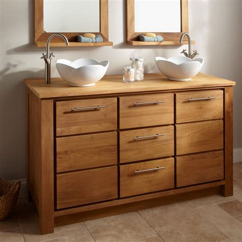 Natural Hickory Wood Vanity Cabinet And Double White Wood Bathroom Vanity