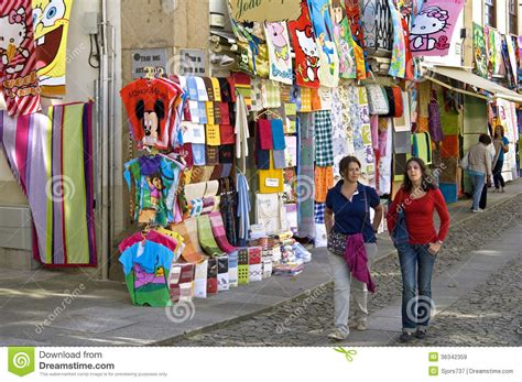 Cityscape Curtains Colorful Shopping Street In Border City Valenca Editorial