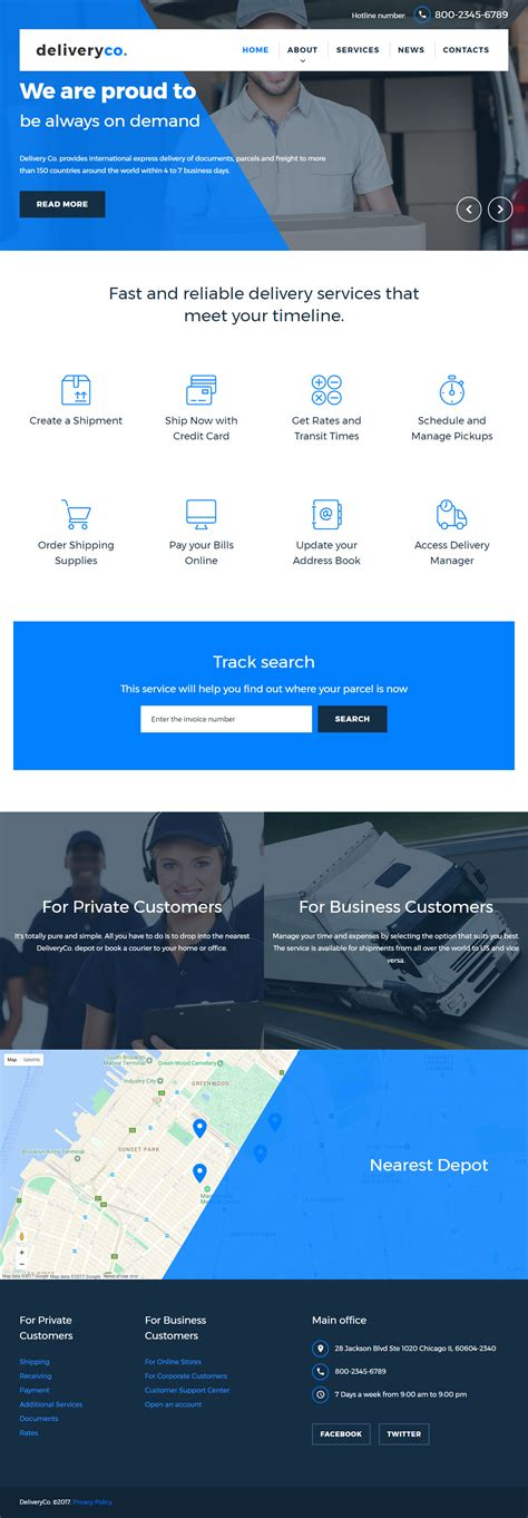 pc themes delivery deliveryco premium responsive delivery services html5