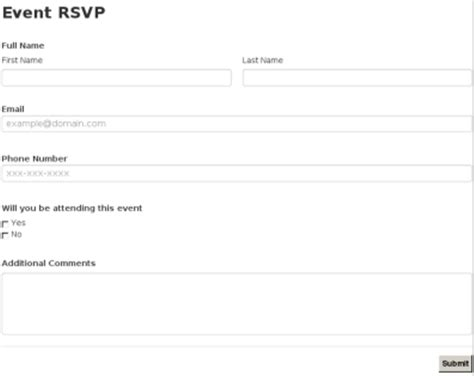 rsvp template for event event rsvp