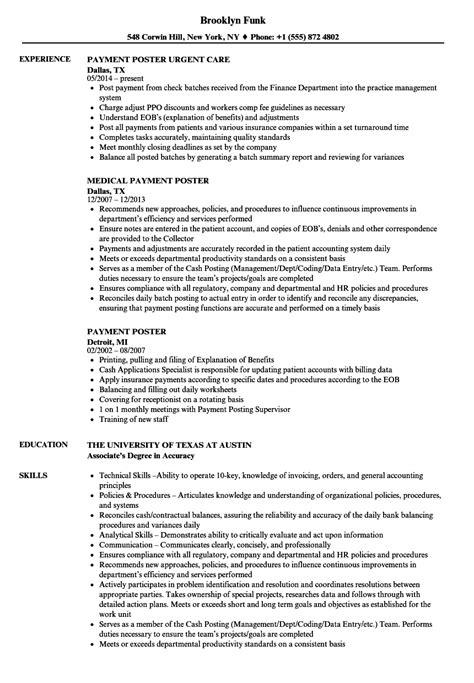payment poster resume sles velvet