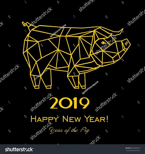 new year 2019 element 2019 happy new year greeting card stock vector 756920578
