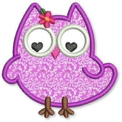 free jef designs olivia owl applique 4x4 5x7 6x10 machine embroidery design
