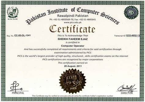 Flagger Certification Card Template by Pakistan Institute Of Computer Sciences Free