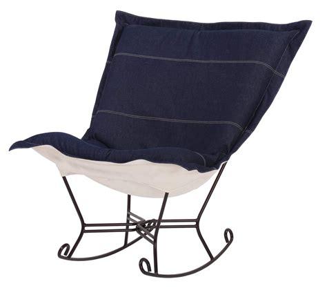 puff chair rocker chicago textile puff rocker denim indigo