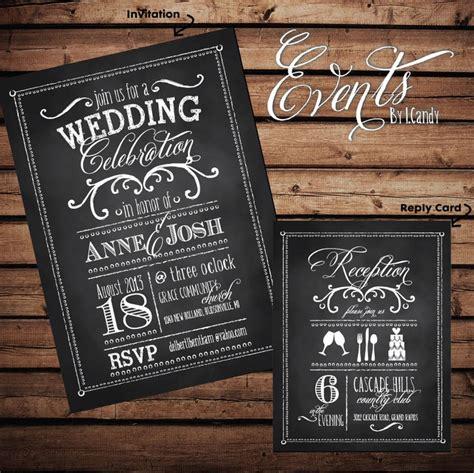printed wedding invitation vintage chalkboard like with