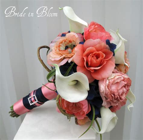 coral flowers coral navy blue in bloom navy blue coral wedding bouquets