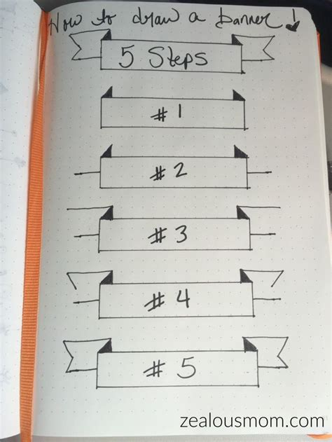simple design for journal how to draw a banner in 5 easy steps perfect for a bullet