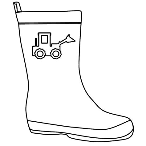 sketch of rain boot coloring pages