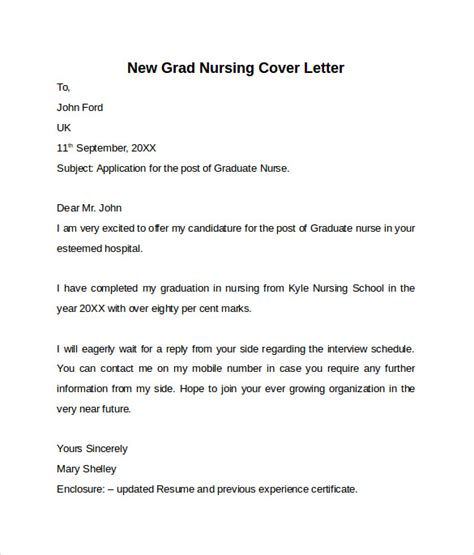 cover letter nursing new grad nursing cover letter template 9 free sles exles