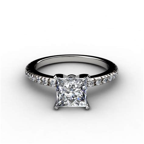 thin cut pave engagement ring