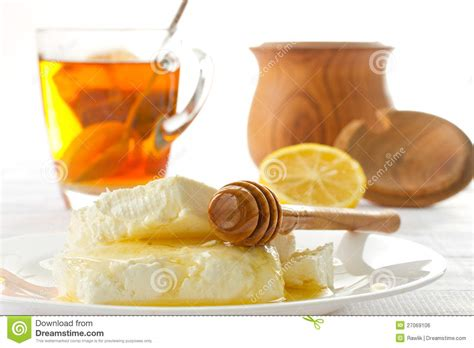 milk cottage cheese with honey royalty free stock image