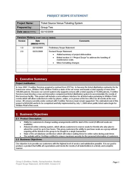scope statement template best photos of project scope document sle project