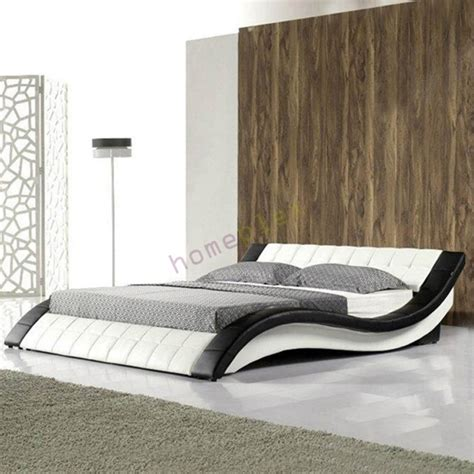 curved bed frame pride white and black pu leather curved bed frame size