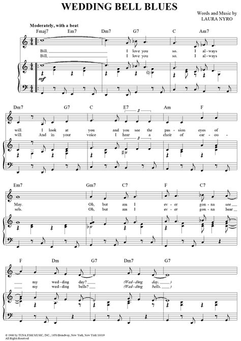 Wedding Bell Piano Sheet by The 5th Dimension Wedding Bell Blues Sheet