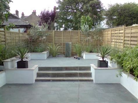 landscape small garden new patio water feature shed