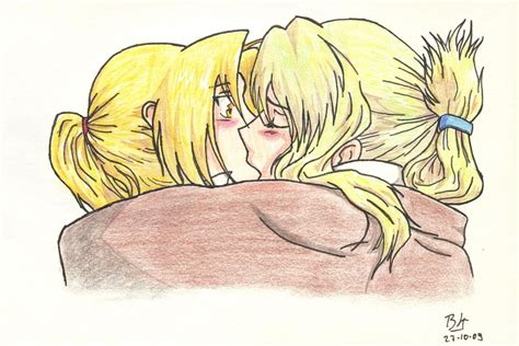 fullmetal alchemist brotherhood edward and winry kiss edward winry kiss by hidemaniac on deviantart