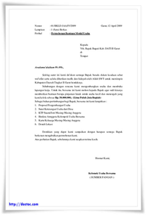 contoh surat permohonan bantuan inti
