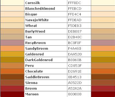 light brown color code daftar nama html color code lengkap situs gratisku