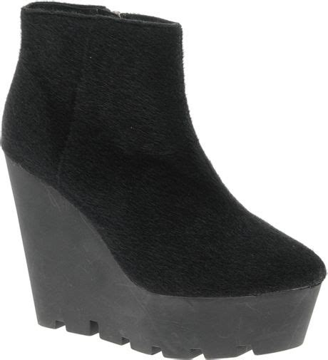 cheap wedge boots cheap monday monolit pony wedge ankle boots in black lyst