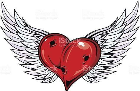 tattoovorlage cartoon damaged heart with angel wings stock vector art 141183583