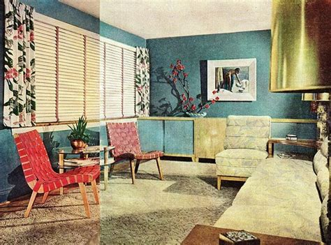 a 1940 s living room colourful with accent