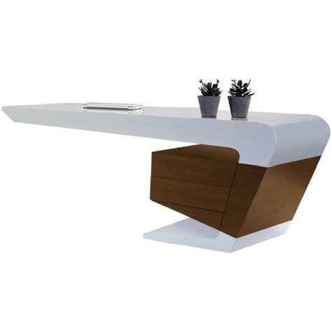 Bureau Design Laqu 233 Blanc 2 Tiroirs Noyer Achat Vente Bureau Blanc Design