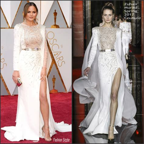 chrissy teigen in zuhair murad chrissy teigen in zuhair murad 2017 academy awards