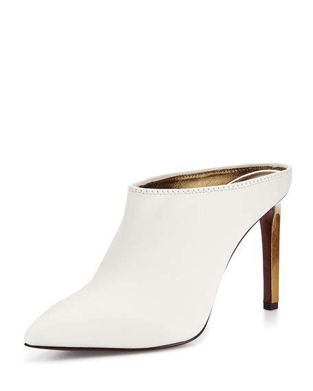white high heel mules lanvin leather point toe mule slide white