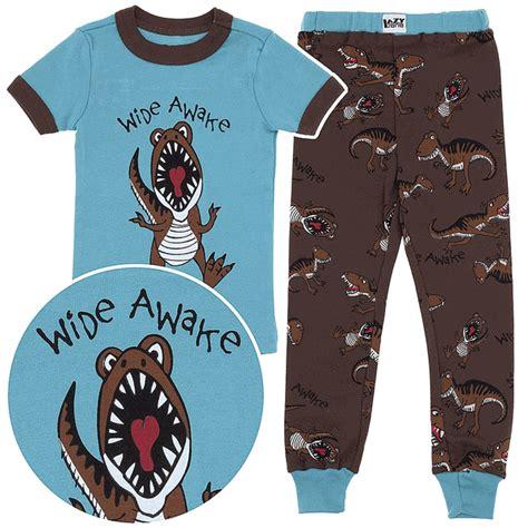dinosaur pajamas for lazy one wide awake dinosaur cotton pajamas for toddlers