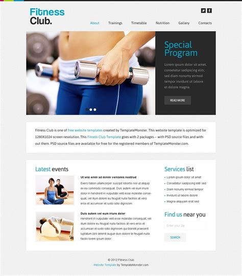 Free Website Template Fitness Club Fitness Website Design Templates