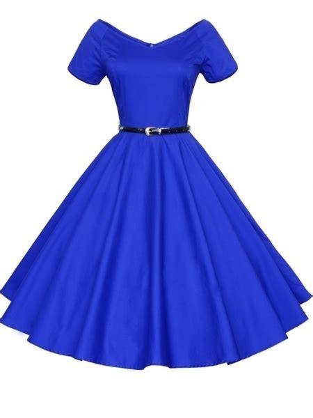 yukita plain dress blue enticing vintage v neck plain skater dress blue on luulla