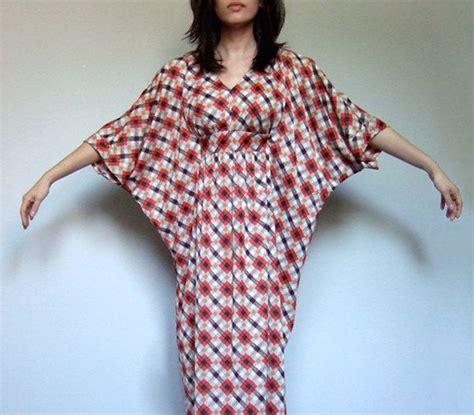 pattern kaftan dress vintage 70s maxi kaftan dress plaid pattern xs s m