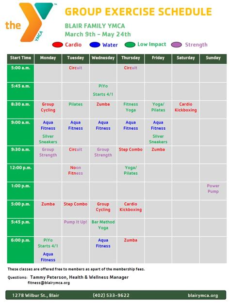 ymca printable schedule group exercise schedule blair family ymca