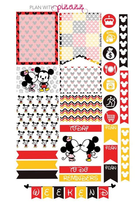 free printable disney planner stickers disney mickey mouse minnie mouse inspired by